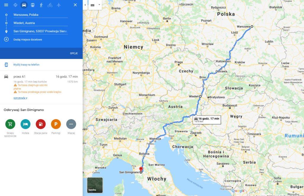 Włochy Toskania dojazd